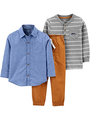 Simple Joys by Carter's Ropa de Juego de 3 Piezas. Infant-and-Toddler-Clothing-Sets, Chambray, 12 Months, Pack de 3