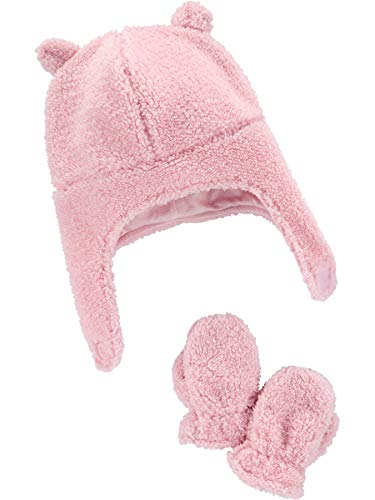 Simple Joys by Carter's Juego de Gorro y Manoplas Infant-and-Toddler-Hats, Rosa, 12-24 Months, Pack de 3