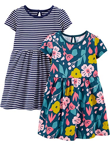 Simple Joys by Carter's Juego de 2 Vestidos Corta y sin Mangas. Infant-and-Toddler-Playwear-Dresses, Floral/Rayas, US 5T (EU 110–116), Pack de 2